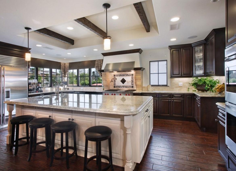 dark wood floor kitchen designs
