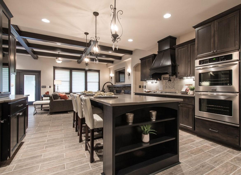 Dark kitchen cabinets with light granite countertops - Espresso Cabinets