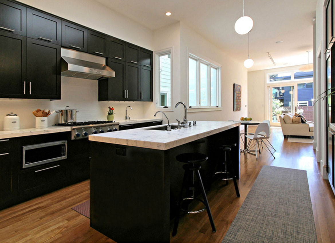 Dark Floors And White Kitchen Cabinets