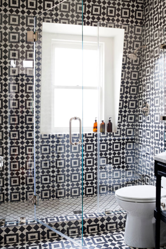 Graphic shower tile designs | Frank Franco