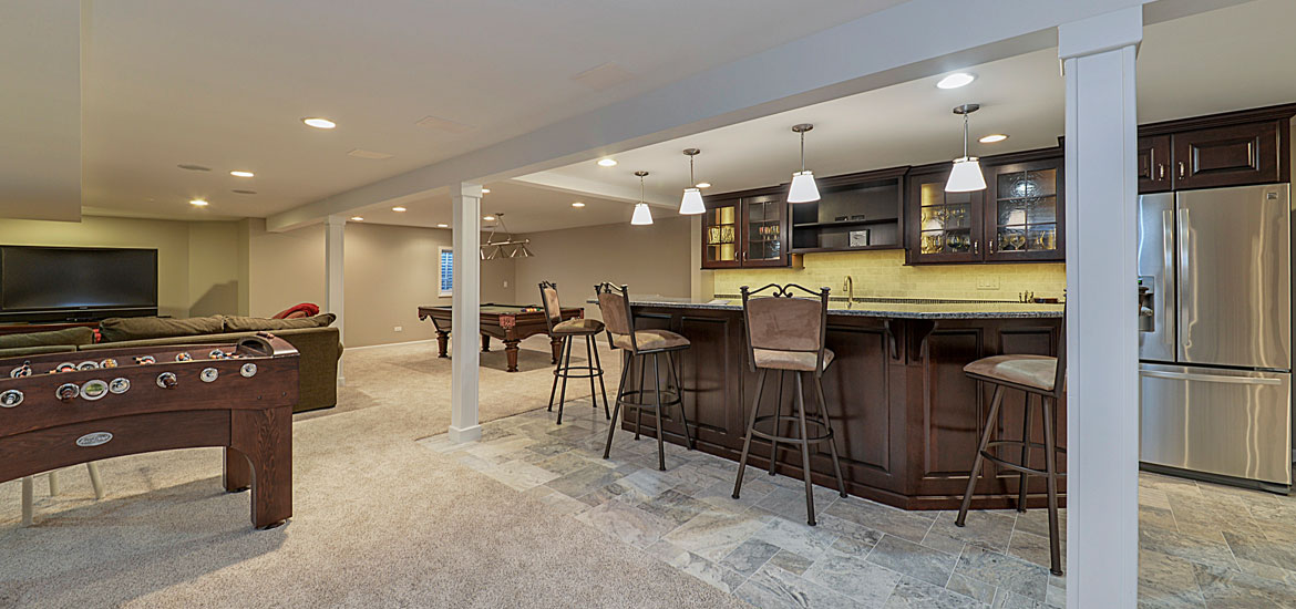 11 top trends in basement design for 2018 home for Best flooring for basement family room