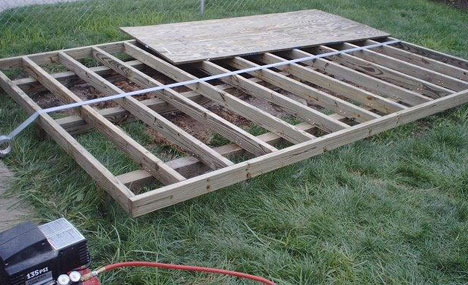 how to build a shed base on grass