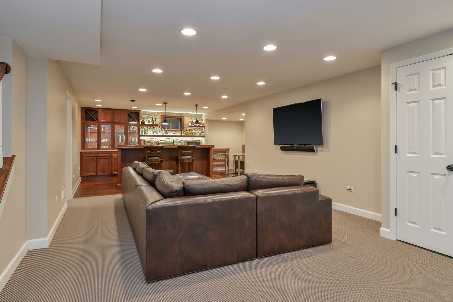 Chuck jen 39 s basement remodel pictures home remodeling contractors sebring design build - Basement design services ...