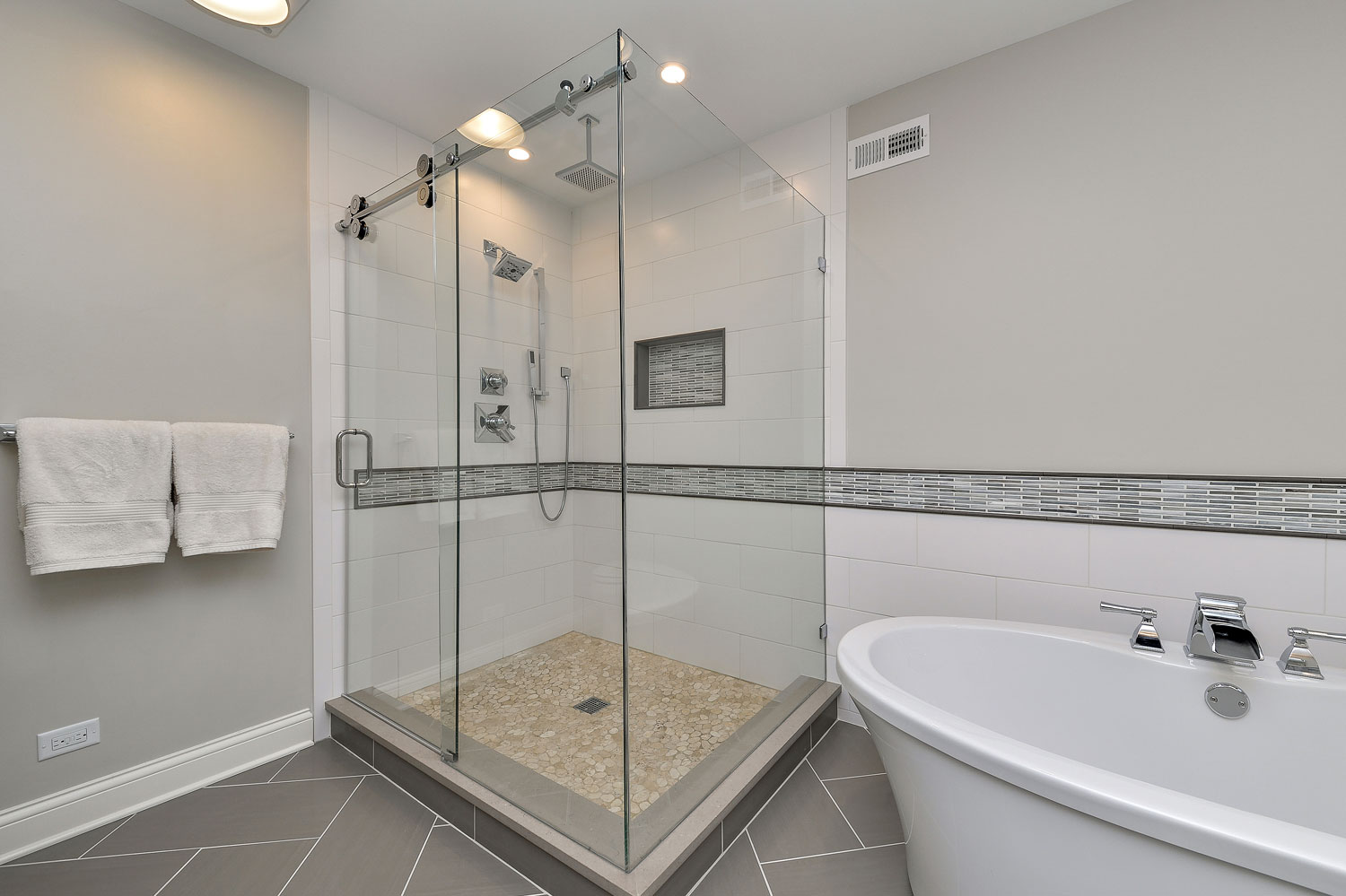 Greg julie 39 s master bathroom remodel pictures home - Small bathroom remodel with tub ...