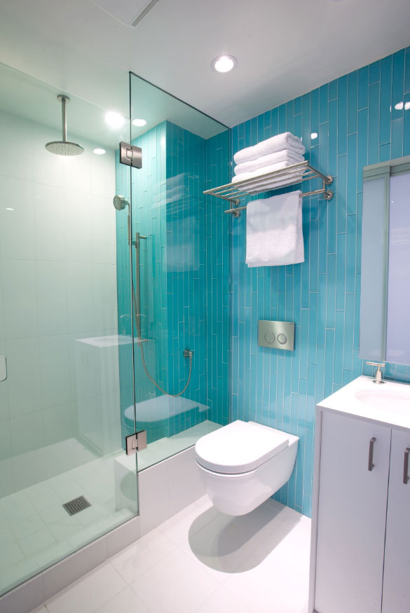 brilliant aqua frameless glass shower doors
