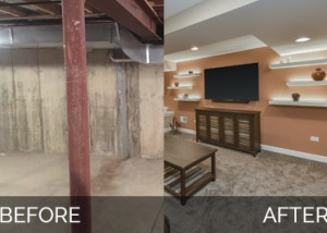 Plainfield Before & After Basement Finish Project - Sebring Services