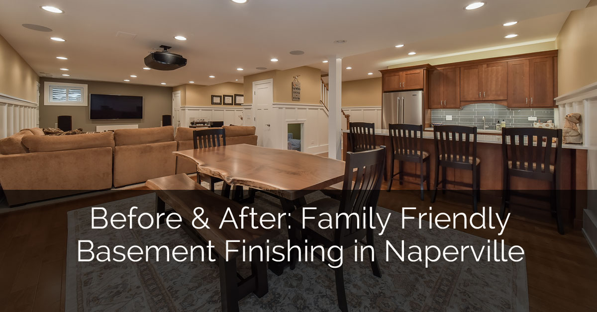 Before After Family Friendly Basement Finishing in Naperville