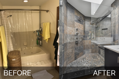 Master Bathroom Before And After clay & mia's master bathroom before & after pictures | home