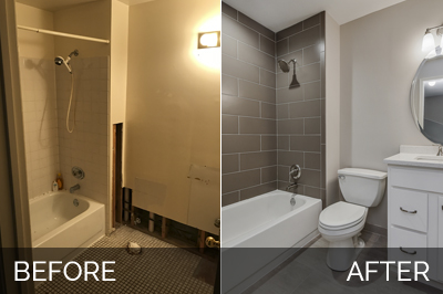 Charles cindy 39 s hall bathroom before after pictures home remodeling contractors sebring - S bathroom remodel before and after ...