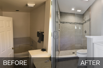 Home remodeling ideas home remodeling contractors - Before and after small bathroom remodels ...