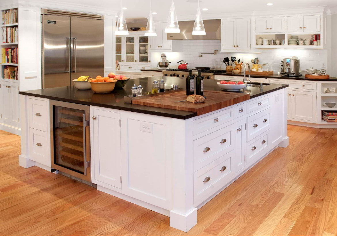 Red Kitchen Island With Butcher Block Top