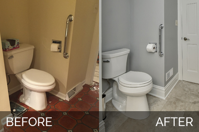 Warrenville Powder Room Before & After - Sebring Services