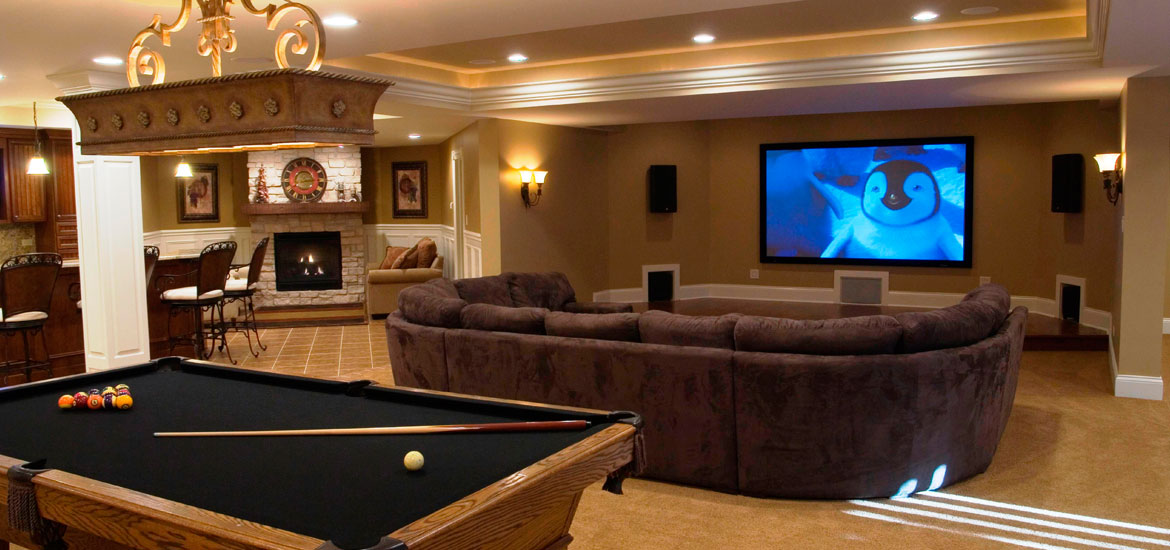astonishing living room pool table | Gaming and Pool Table Room Sizes | Home Remodeling ...