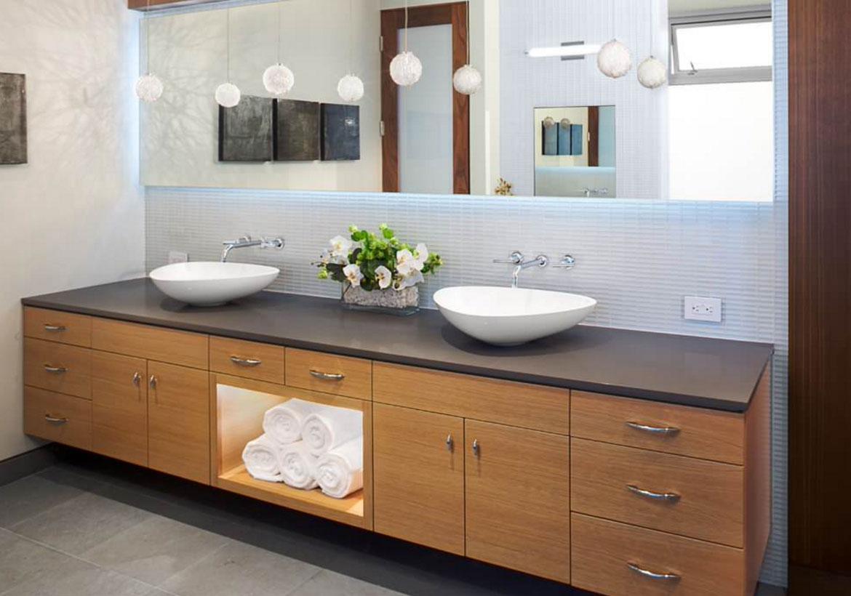 Floating Vanity To A Vessel Sink