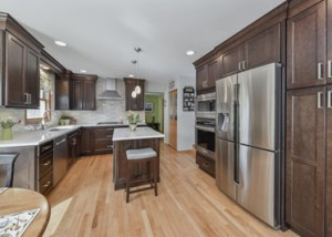 Lisle Kitchen Remodeling White Quartz Dark Cabinets Sebring Design Build