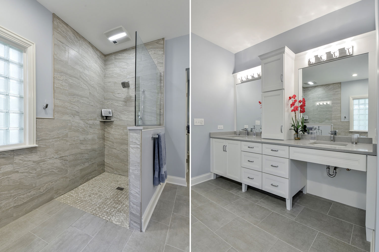 Naperville bathroom curbless modern - Sebring Services