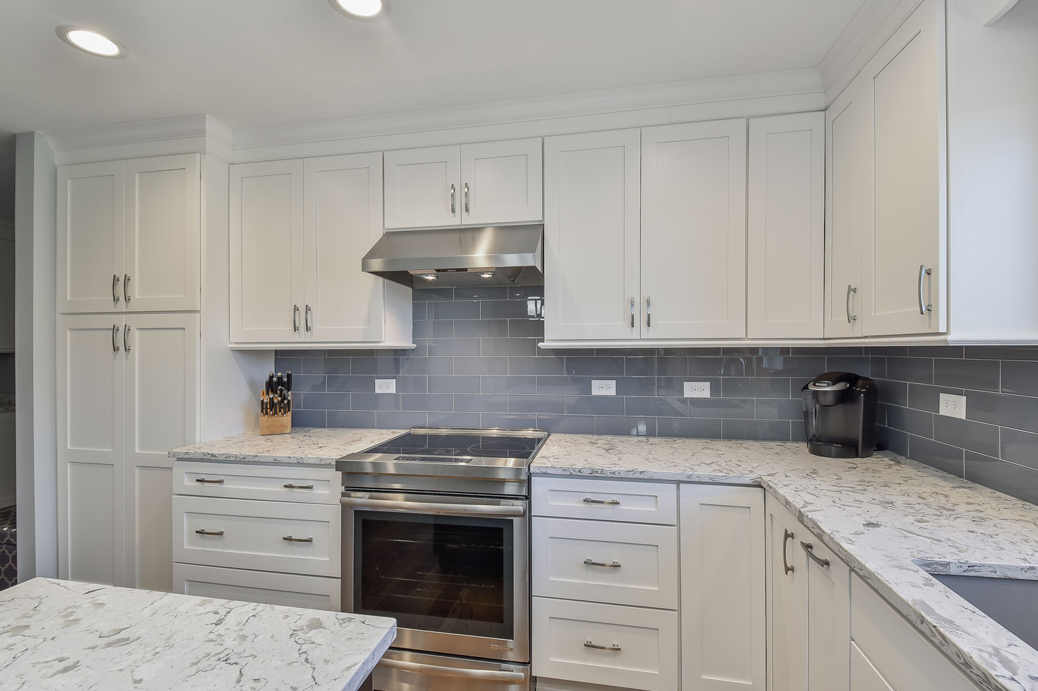 Homer Glen Kitchen Remodeling Project With White Shaker Cabinetry, Quartz  Countertops, Blue Subway Tile