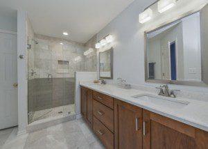 Lisle Master Bathroom Remodel, Quartz, Grey Subway Tile, Walk-in Shower - Sebring Design Build