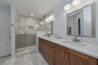 Lisle Master Bathroom Remodel, Quartz, Grey Subway Tile, Walk-in Shower - Sebring Design Build