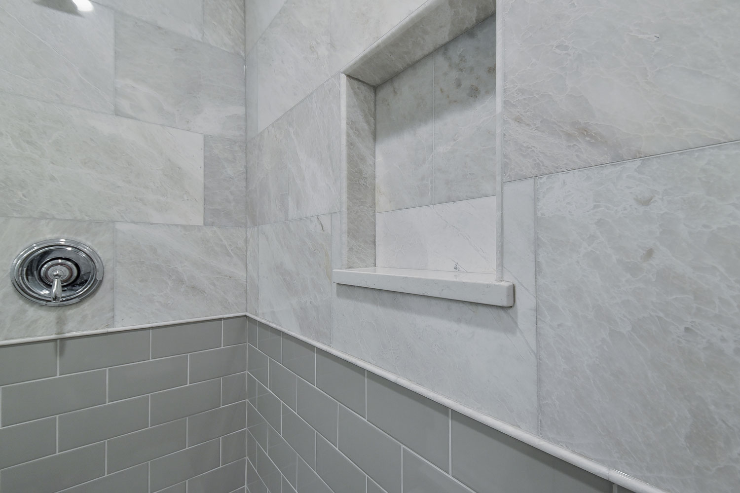 Richards master bathroom remodel pictures home remodeling lisle master bathroom remodel quartz grey subway tile walk in shower dailygadgetfo Gallery