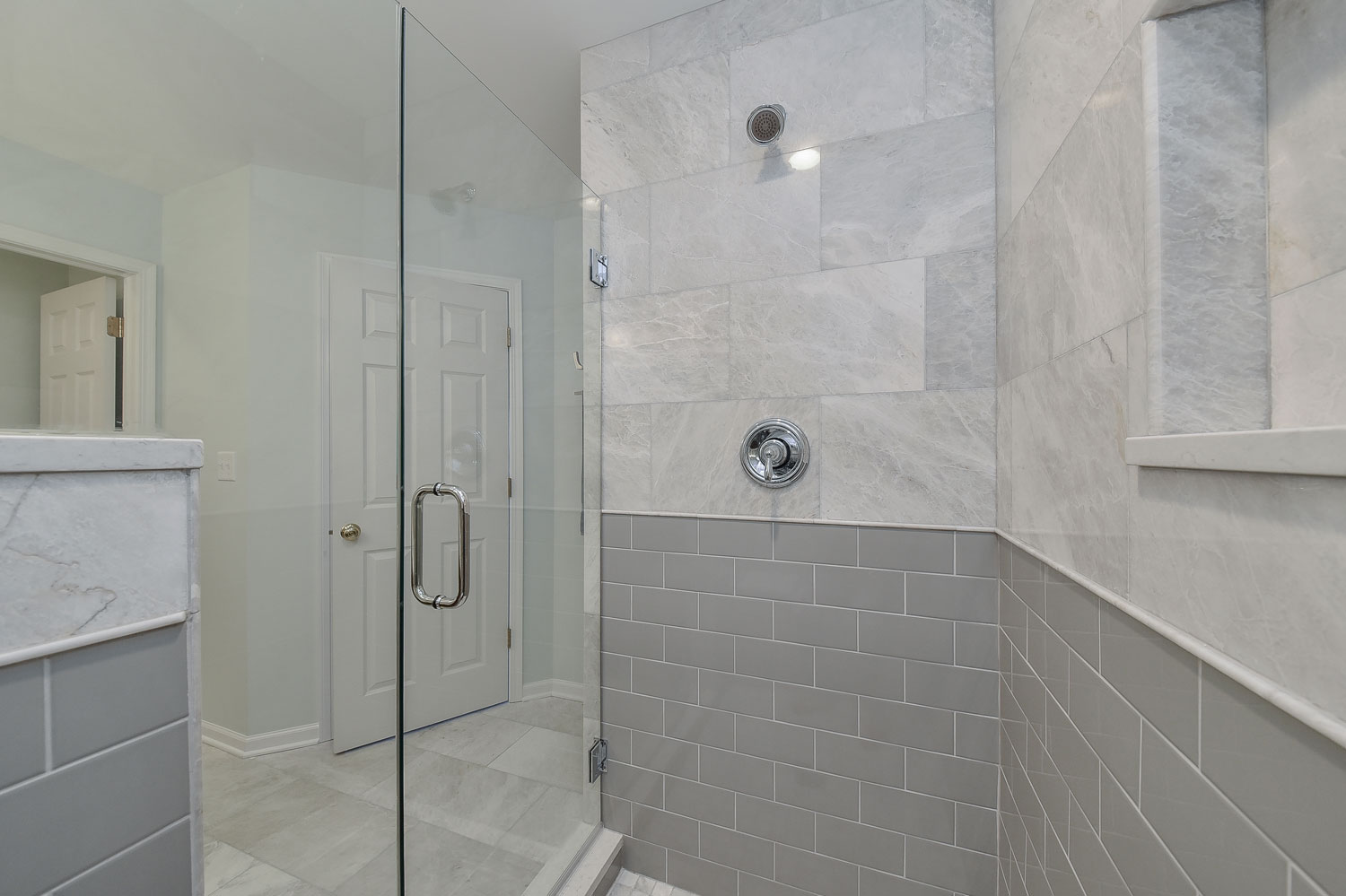 Lisle Master Bathroom Remodel Quartz Grey Subway Tile Walk In Shower