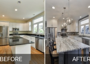 's Naperville Kitchen Remodel Pictures, Featuring White Quartz Countertops Before and After - Sebring Design Build