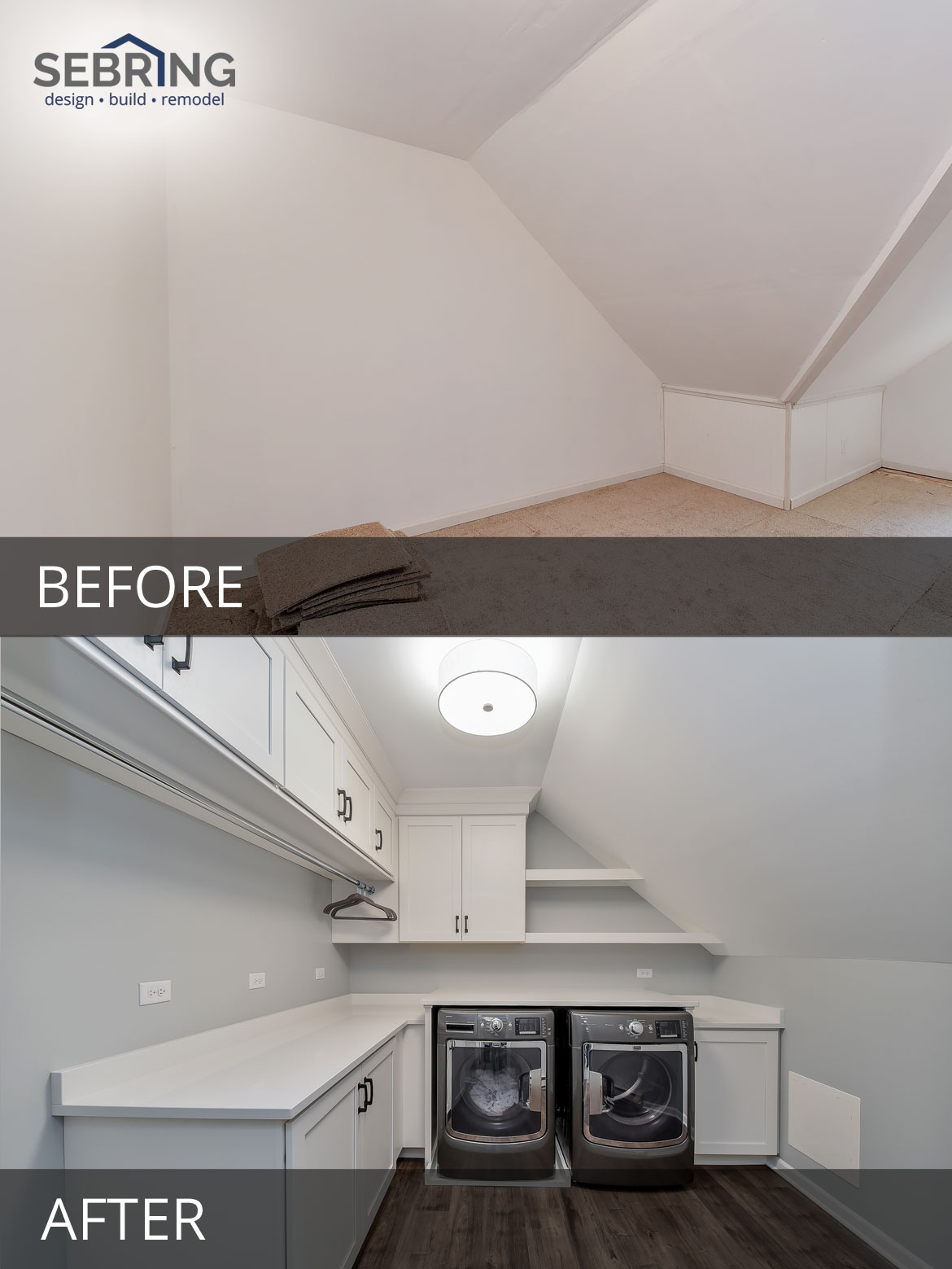 Naperville Mudroom Cubbies Laundry Room Attic Before and After Pictures- Sebring Design Build