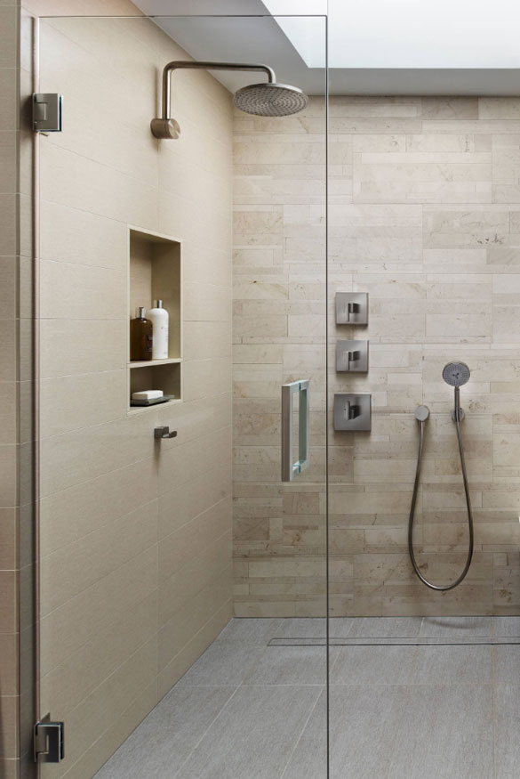 pin tan tile sliced pebble s floor shower java pebbletileshop