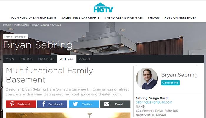 HGTV Professionals Article - Sebring Design Build