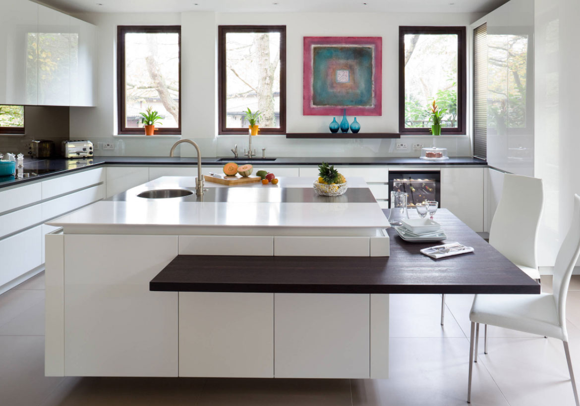 designer kitchens with white cabinets