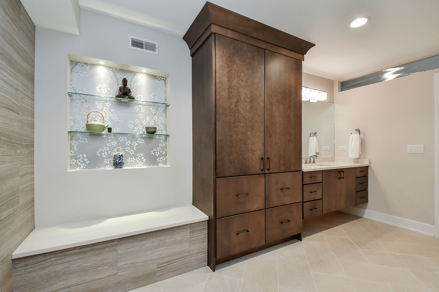 Wheaton Basement Bathroom With Steam Shower, Electronic Controlled Shower - Sebring Design Build