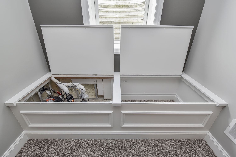 Downers Grove Basement Finishing Project, Grey Walls, Grey Carpet, White Wet Bar - Sebring Design Build
