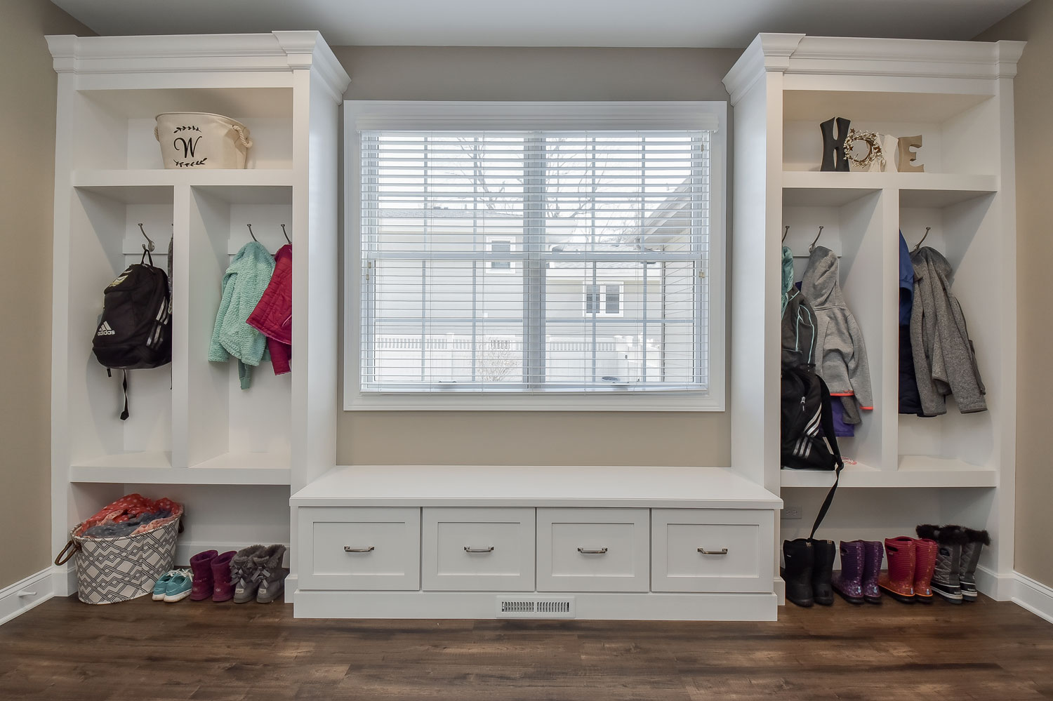 Downers Grove White Mudroom Cabinetry Lockers - Sebring Design Build