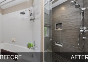 Modern Naperville Hall Bath Before and After Pictures - Sebring Design Build