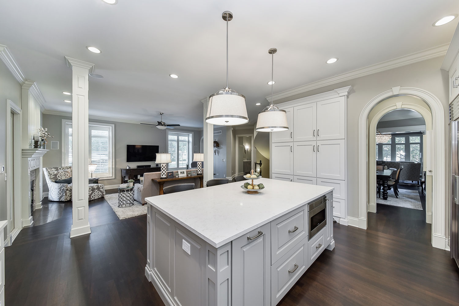 Naperville White Kitchen Quartz Grey Island - Sebring Design Build