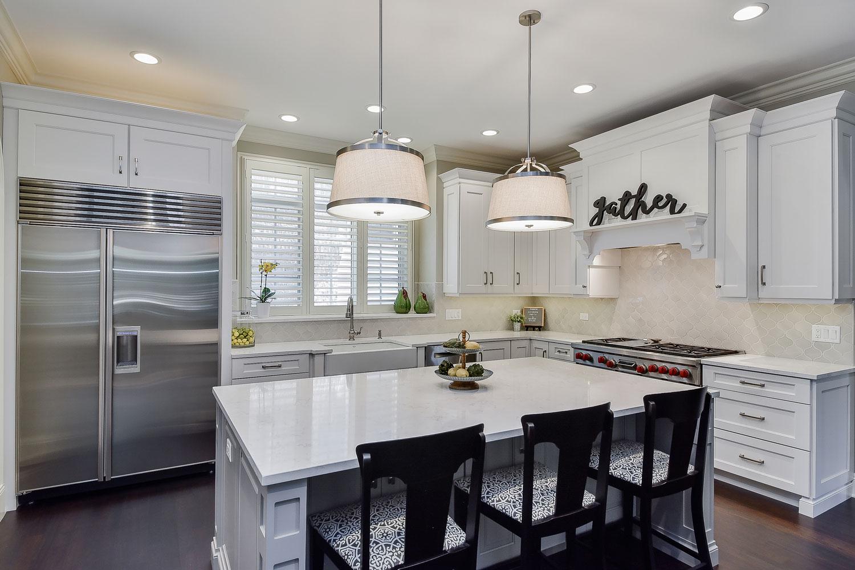 Naperville White Kitchen Quartz Grey Island - Sebring Design Build
