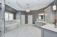 Naperville Master Bath Grey Cabinetry White Subway Freestanding Tub - Sebring Design Build