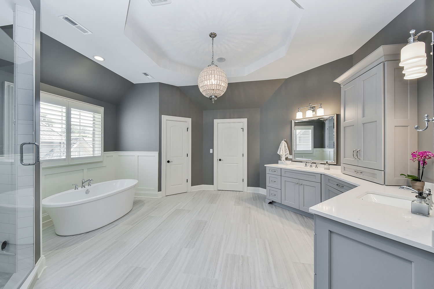 Naperville Master Bath Grey Cabinetry White Subway Freestanding Tub - Sebring Design Build