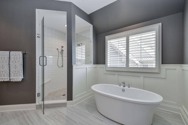 View Larger Image Naperville Master Bath Grey Cabinetry White Subway  Freestanding Tub   Sebring Design Build