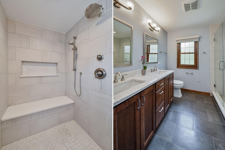 Naperville Walk-In Shower Stained Cabinetry - Sebring Design Build