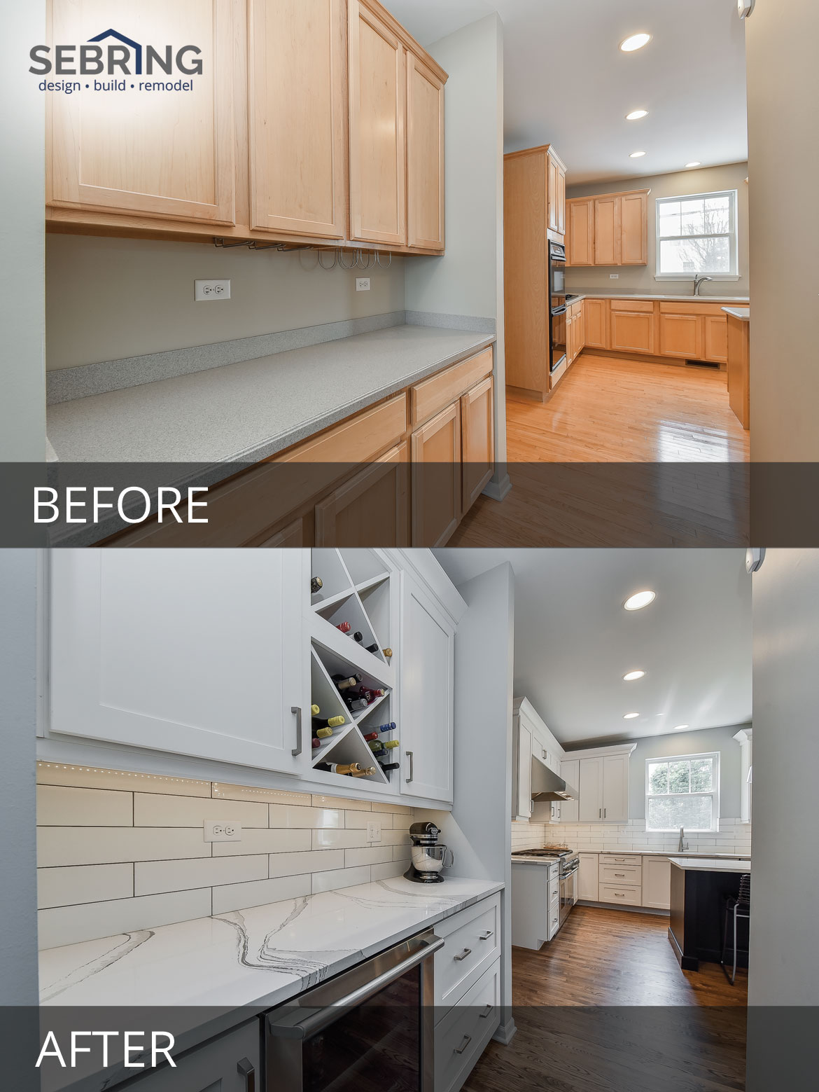 Plainfield Kitchen Remodel Before and After Pictures - Sebring Design Build