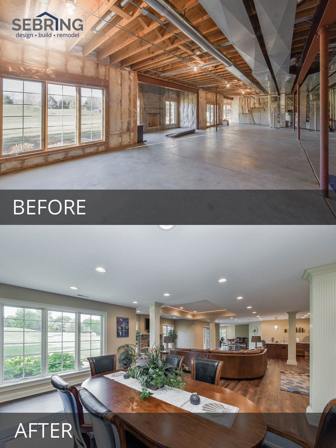 St Charles Basement Finishing Before & After Pictures - Sebring Design Build