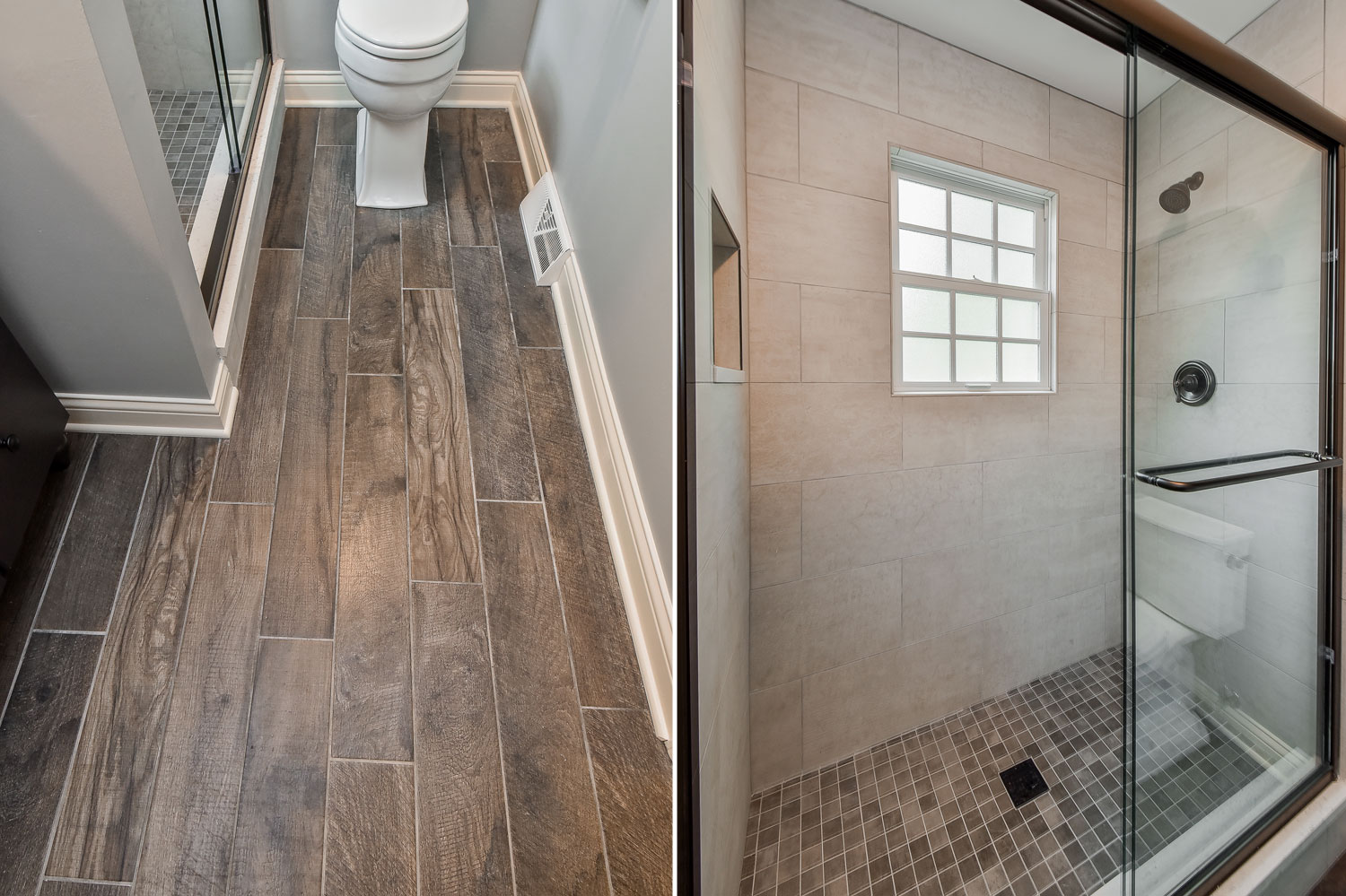 Wheaton Bathroom Remodel Rustic Wood Look Tile - Sebring Design Build