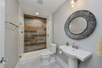 Glen Ellyn Basement Bathroom Wood Look Tile - Sebring Design Build