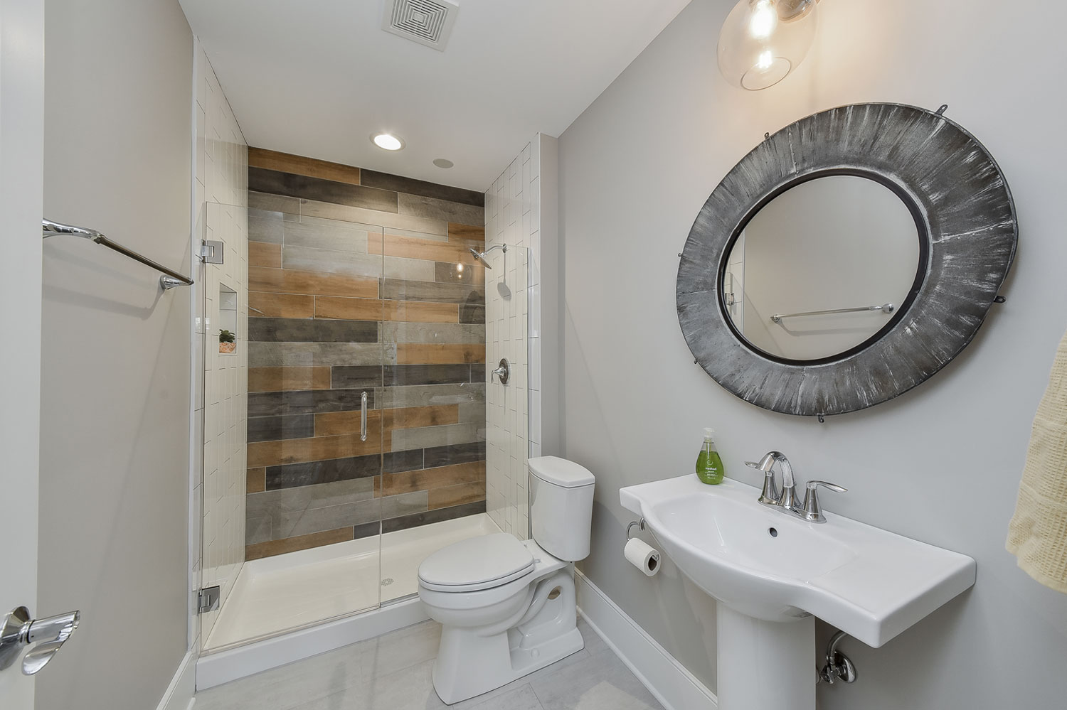 Glen Ellyn Basement Bathroom Wood Look Tile - Sebring Design Build