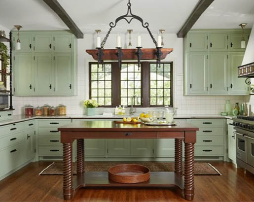 green kitchen cabinets 2