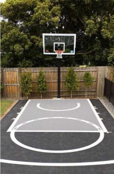 27 Outdoor Home Basketball Court Ideas, Outdoor Basketball Court Lines Paint