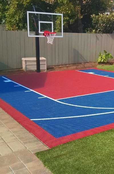 27 Outdoor Home Basketball Court Ideas, Outdoor Basketball Court Paint Ideas