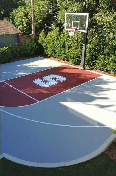 27 Outdoor Home Basketball Court Ideas, Outdoor Concrete Basketball Court Paint