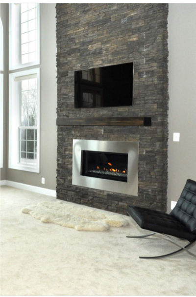 41 Stacked Stone Fireplace Ideas, Charcoal Slate Fireplace Hearth Tile
